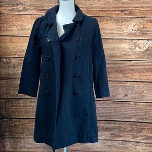 J crew• Classic Twill Navy Double Breasted Trench